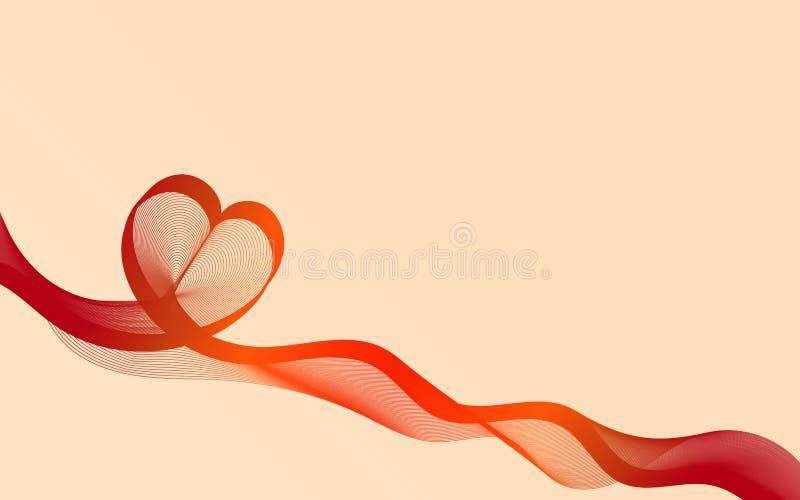 温暖背景的重点 薄绢喜欢丝带心脏 10个背景设计eps技术向量 向量例证
