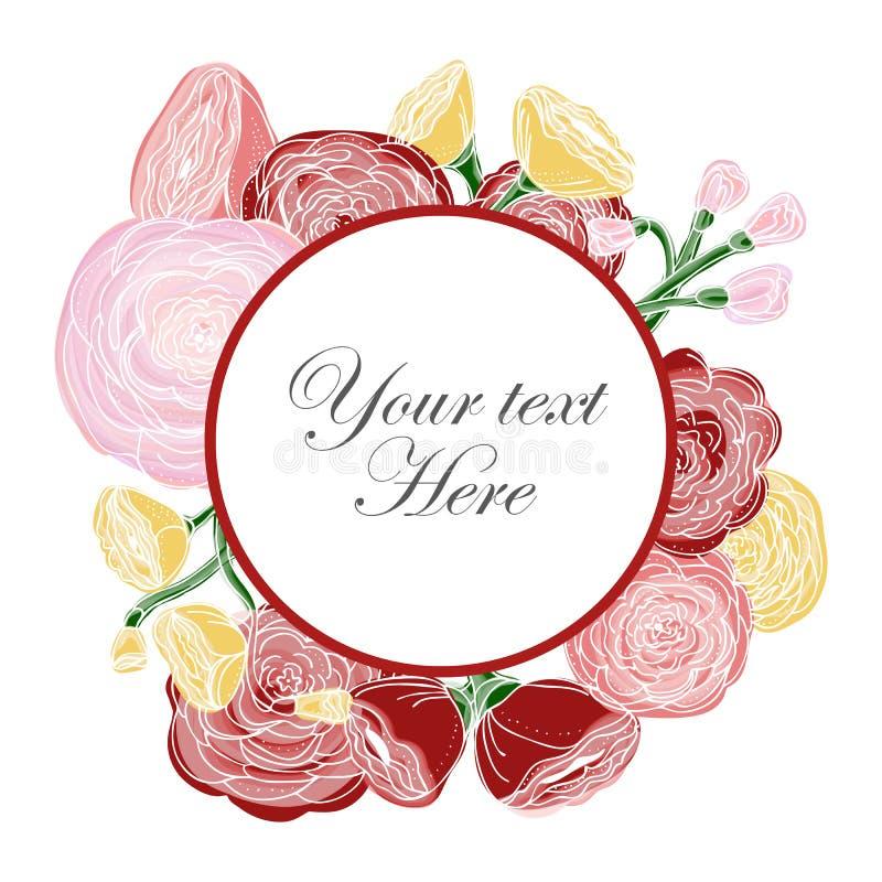 温暖色的玫瑰被安排以花圈的形式 向量例证