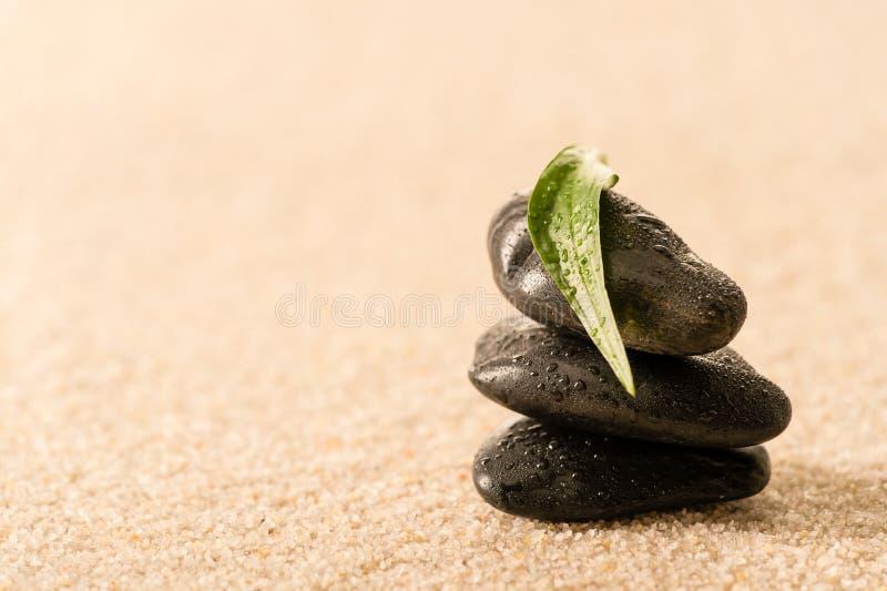 温泉与叶子的禅宗石头在沙子 免版税库存图片