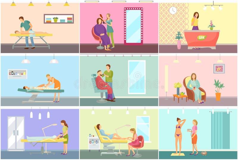 温泉中心和发廊内部动画片集合 库存例证