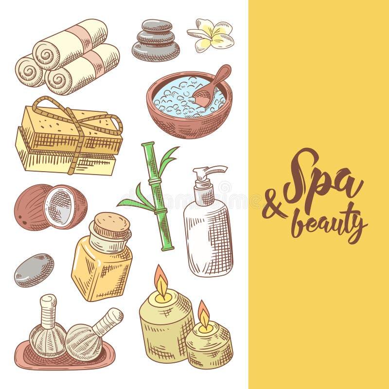 温泉健康秀丽手拉的设计 芳香疗法健康元素集 皮肤治疗 向量例证