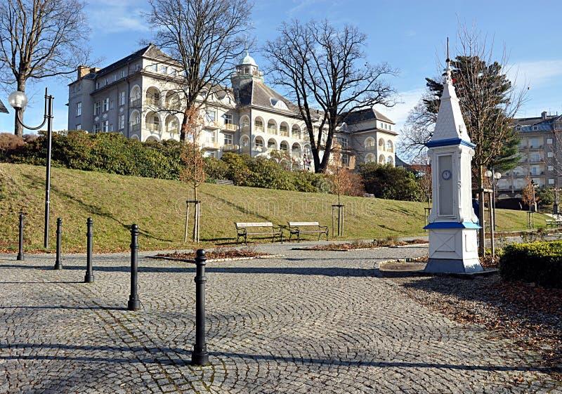 温泉和城市Jesenik,捷克共和国,欧洲 免版税图库摄影