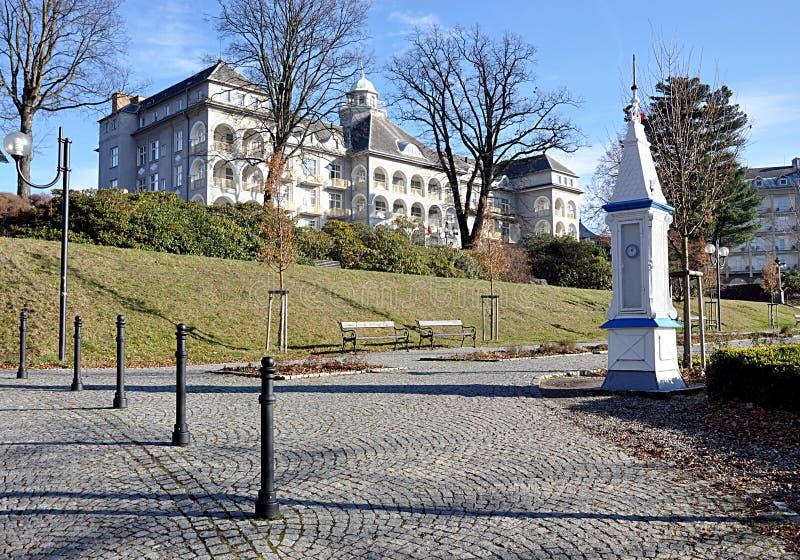 温泉和城市Jesenik,捷克共和国,欧洲 库存照片