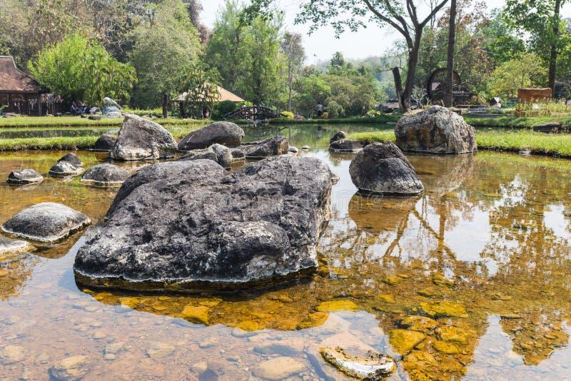 温泉城在泰国 库存图片