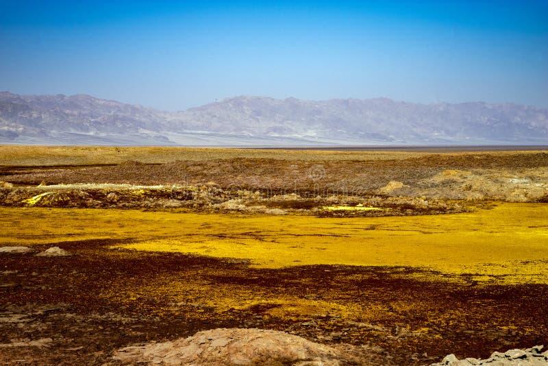 温泉城在Dallol, Danakil沙漠,埃塞俄比亚 免版税图库摄影