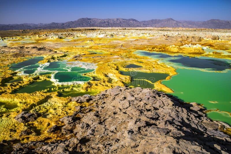 温泉城在Dallol, Danakil沙漠,埃塞俄比亚 免版税库存照片