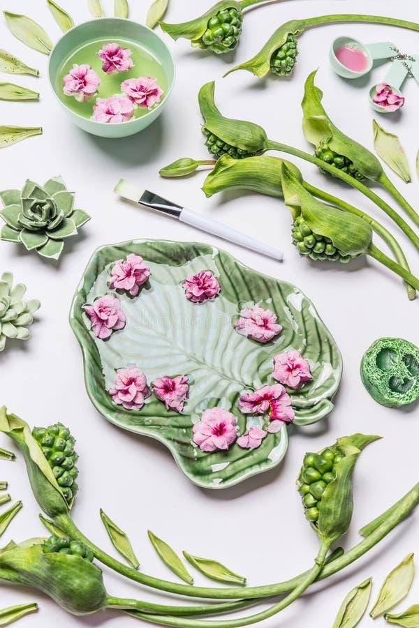 温泉或健康背景 滚保龄球在热带叶子形状用花和水在白色背景与绿色叶子和水芋属 免版税库存图片