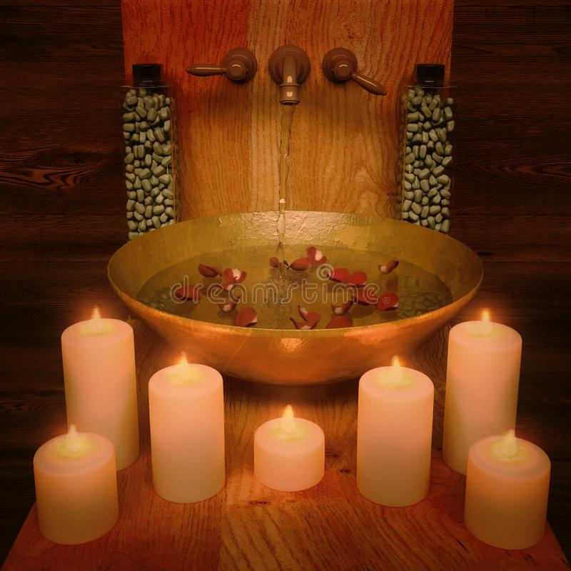 温泉治疗的构成与烛光的在木 免版税库存照片
