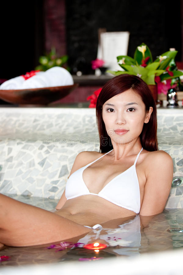 温泉的妇女 图库摄影