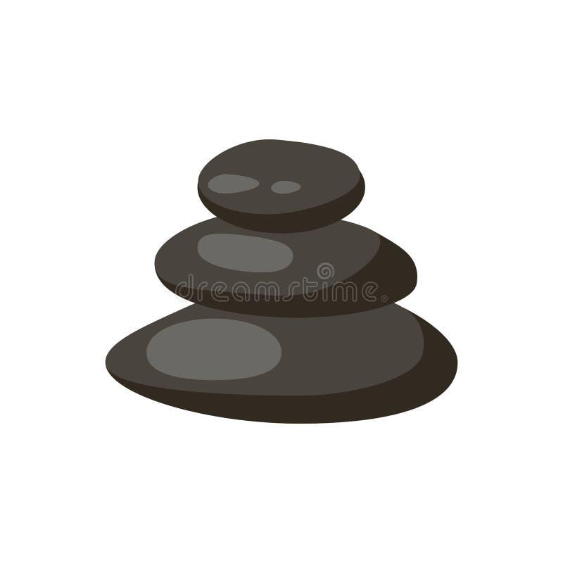 温泉石头隔绝了传染媒介和放松被隔绝的温泉石头 温泉向被隔绝的小卵石概念疗法,堆温泉石头孤立扔石头 向量例证