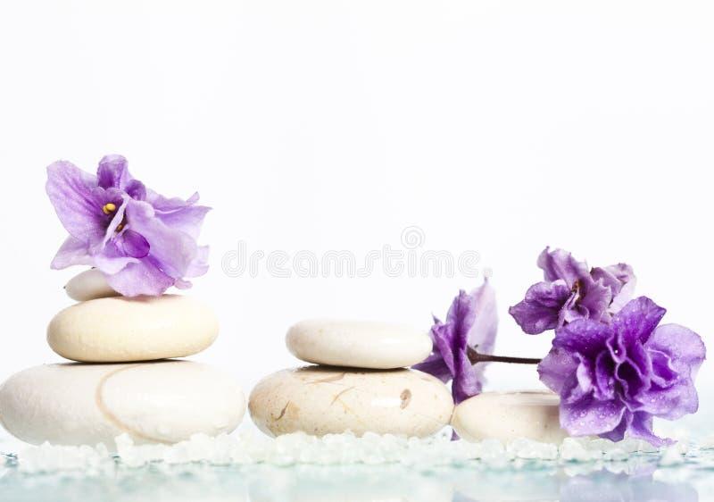 温泉石头和花在白色背景 免版税库存照片
