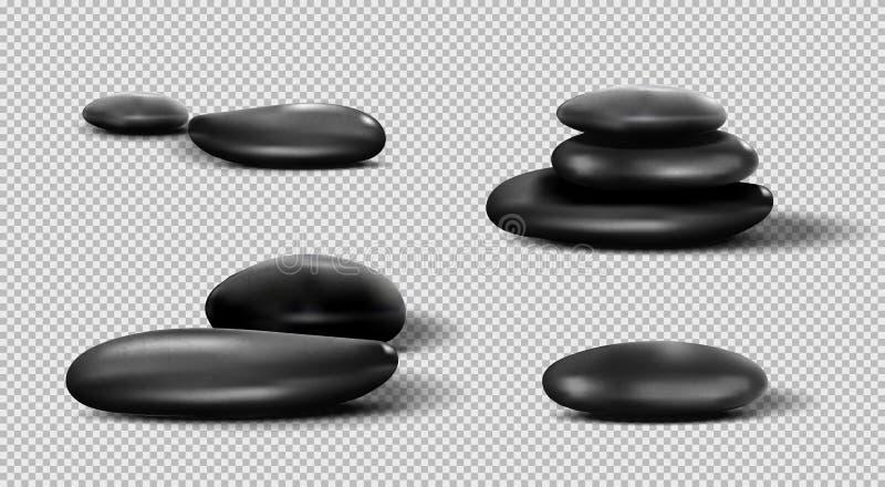 黑温泉石头的汇集 在透明背景设置的传染媒介小卵石 向量例证