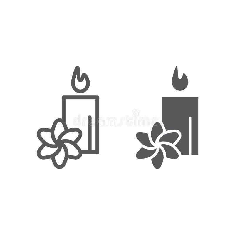 温泉线和纵的沟纹象,旅馆和放松,莲花和蜡烛标志,向量图形,一个线性样式 皇族释放例证