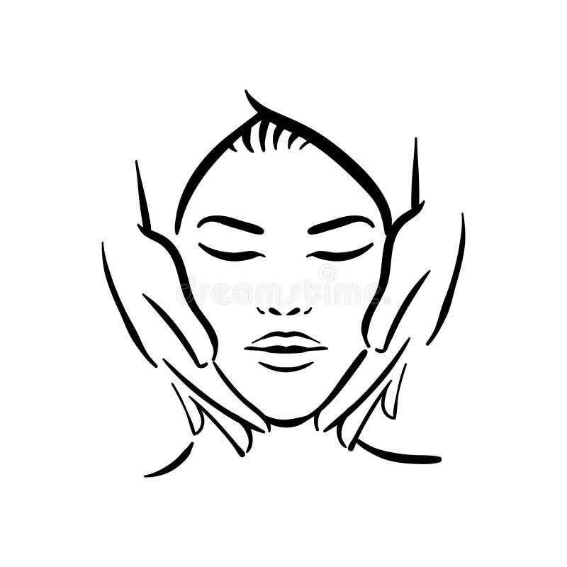 温泉脸部按摩的传染媒介手拉的例证妇女的白色背景的 皇族释放例证