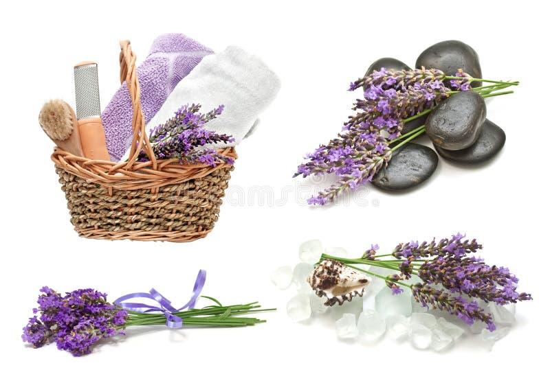 温泉设置用淡紫色 免版税库存照片