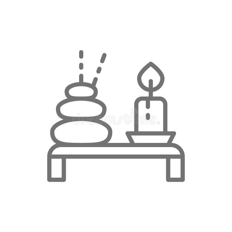 温泉,与蜡烛线象的泰国热的石头 库存例证