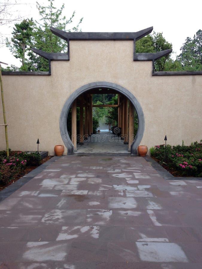 温泉水池的典型的传统建筑学 免版税图库摄影