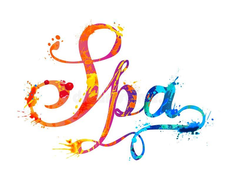 温泉 飞溅油漆的手文字 向量例证