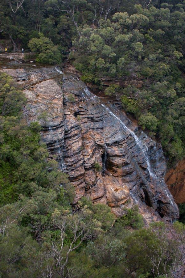 温特沃斯瀑布在蓝山山脉在澳大利亚 免版税图库摄影