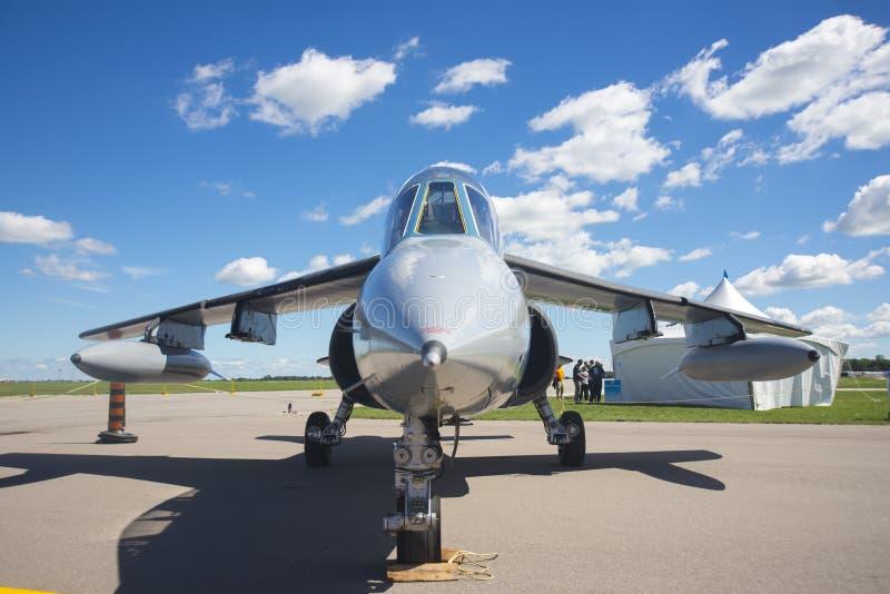 温莎,加拿大- 2016年9月10日:喷气机前面看法  库存照片