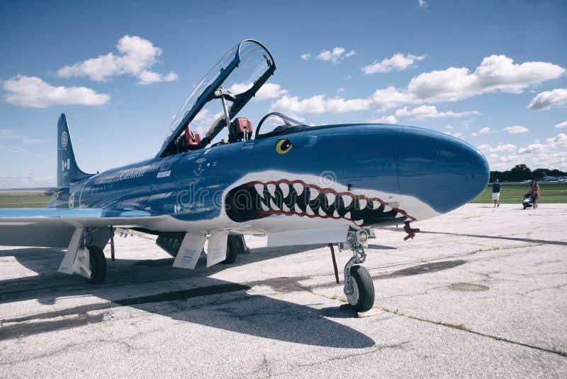 温莎,加拿大- 2016年9月10日:喷气机博物馆(果酱) T-33 免版税库存照片