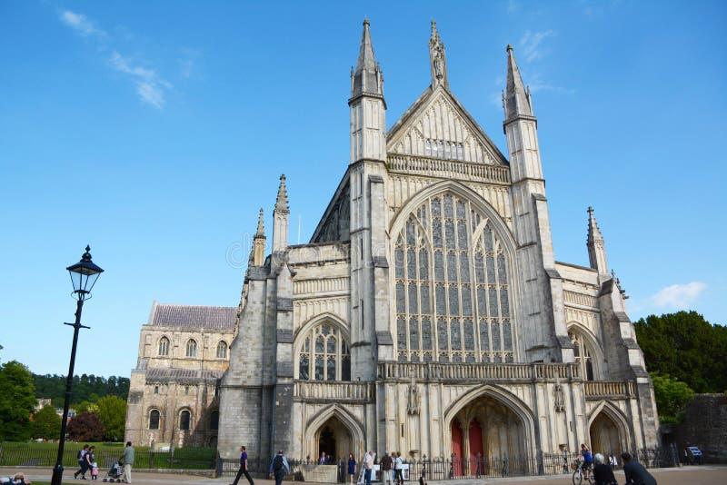 温彻斯特大教堂,英国西部门面  免版税库存图片