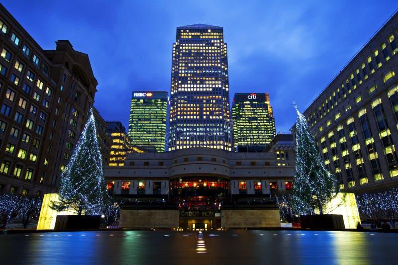 港区在圣诞节的伦敦 免版税库存照片