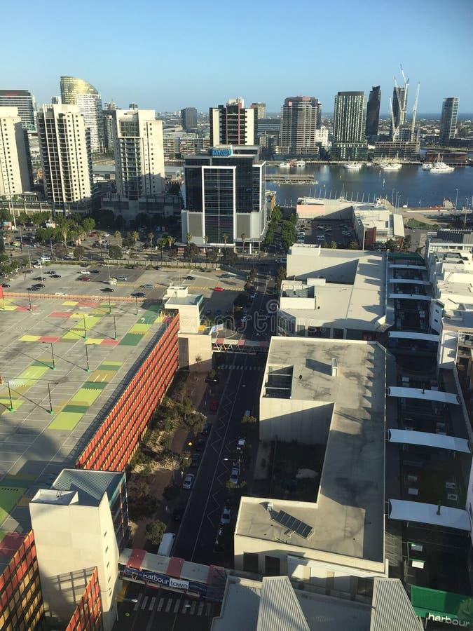 港区在墨尔本市 免版税库存图片