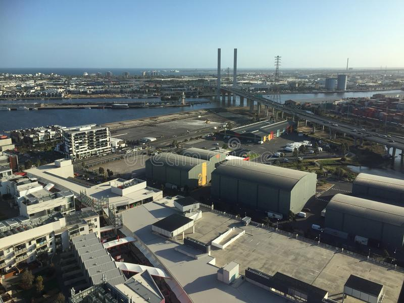 港区在墨尔本市 免版税图库摄影