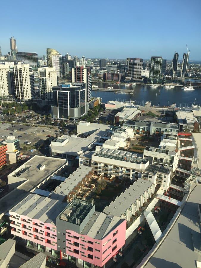 港区在墨尔本市 免版税库存照片