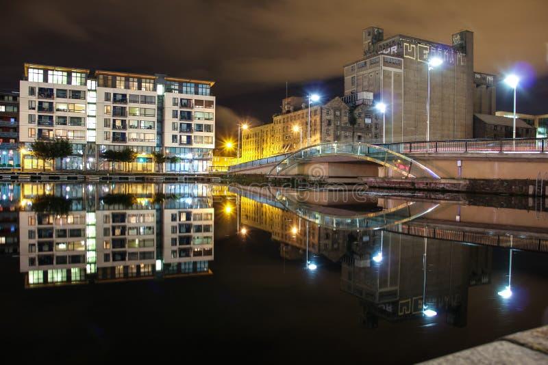 港区在晚上-都伯林 免版税图库摄影