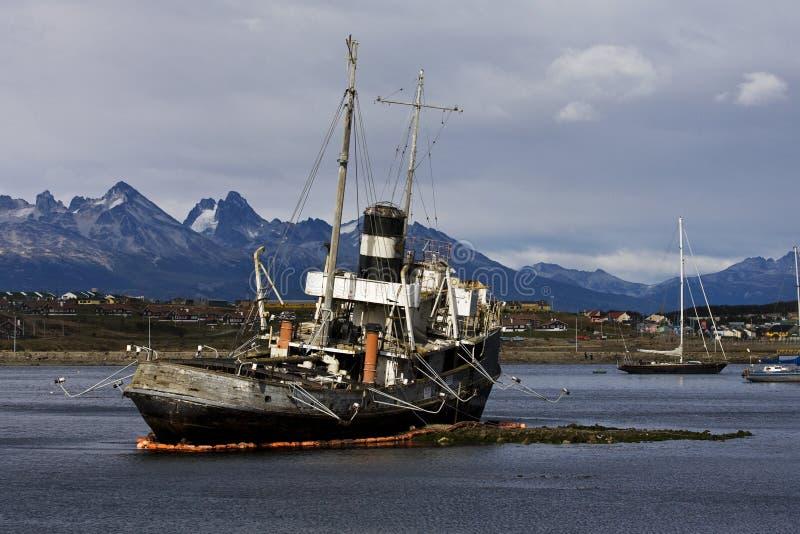 港口乌斯怀亚,阿根廷 免版税库存照片