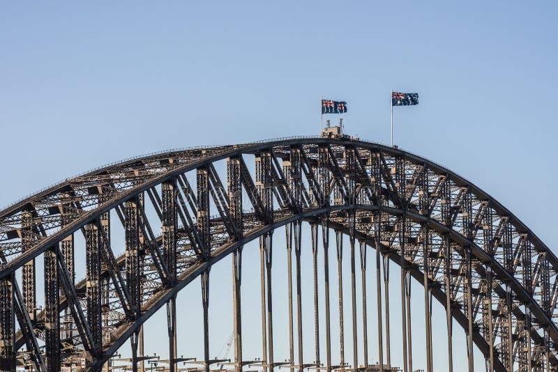 港口在日落,悉尼澳大利亚期间的桥梁间距特写镜头  免版税库存图片