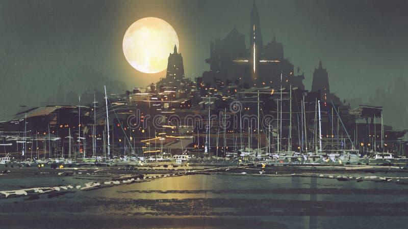 港口城市风景有月光的 皇族释放例证