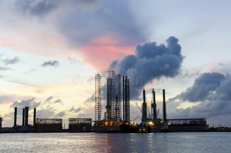港口日落在加尔维斯顿 免版税图库摄影