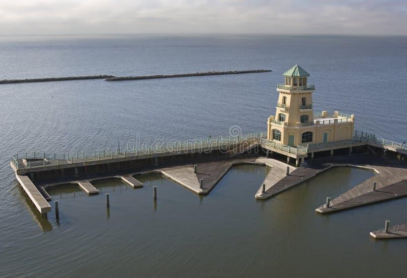 港口灯塔掌握季度 免版税图库摄影