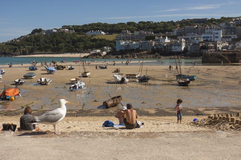 港口看法从海滩的在St, Ives康沃尔郡 库存图片