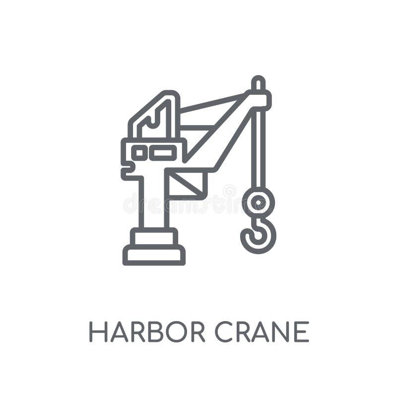港口起重机线性象 现代概述港口起重机商标conce 向量例证