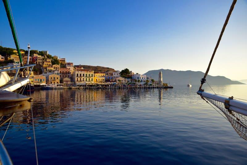 港口,锡米岛海岛希腊 库存图片