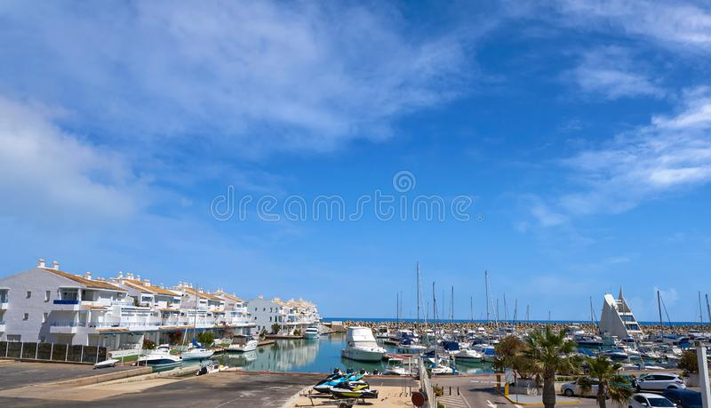 港小游艇船坞las丰特斯埃斯卡拉在Alcossebre 库存照片