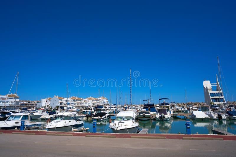 港小游艇船坞las丰特斯埃斯卡拉在Alcossebre 免版税图库摄影