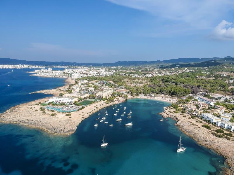 港des洪流,伊维萨岛鸟瞰图  西班牙 免版税库存图片