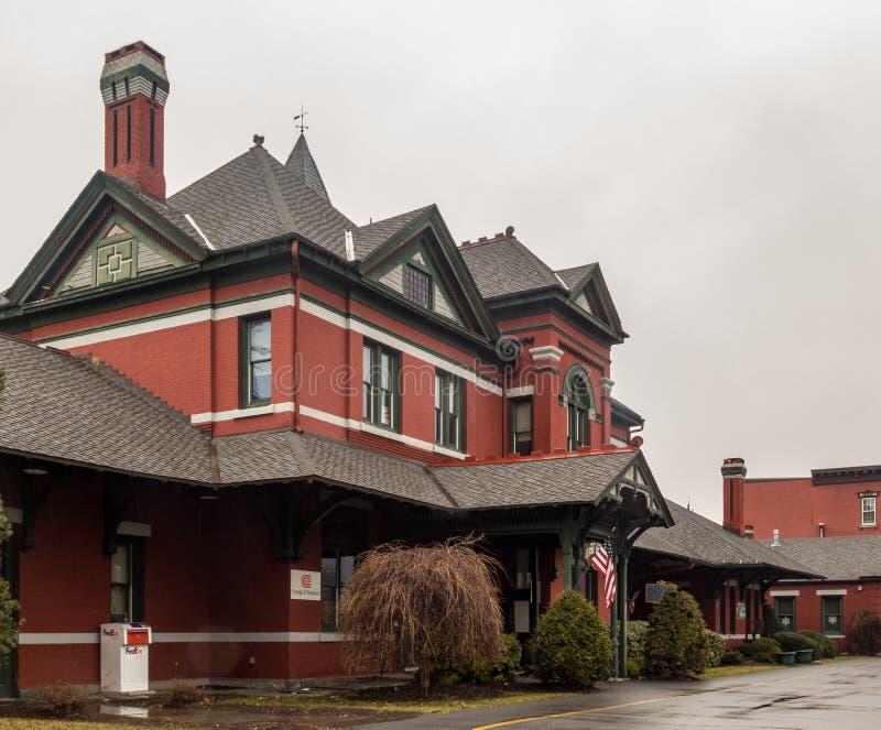港Jervis,NY/美国- 2017年3月7日:伊利铁路的前港Jervis火车站的风景视图 图库摄影