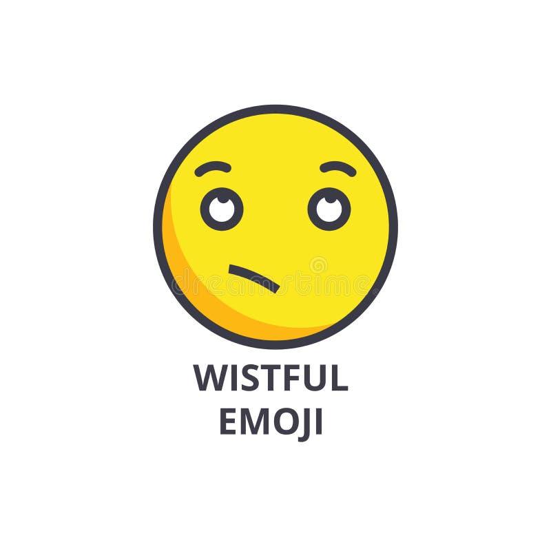渴望的emoji传染媒介线象,标志,在背景,编辑可能的冲程的例证 皇族释放例证