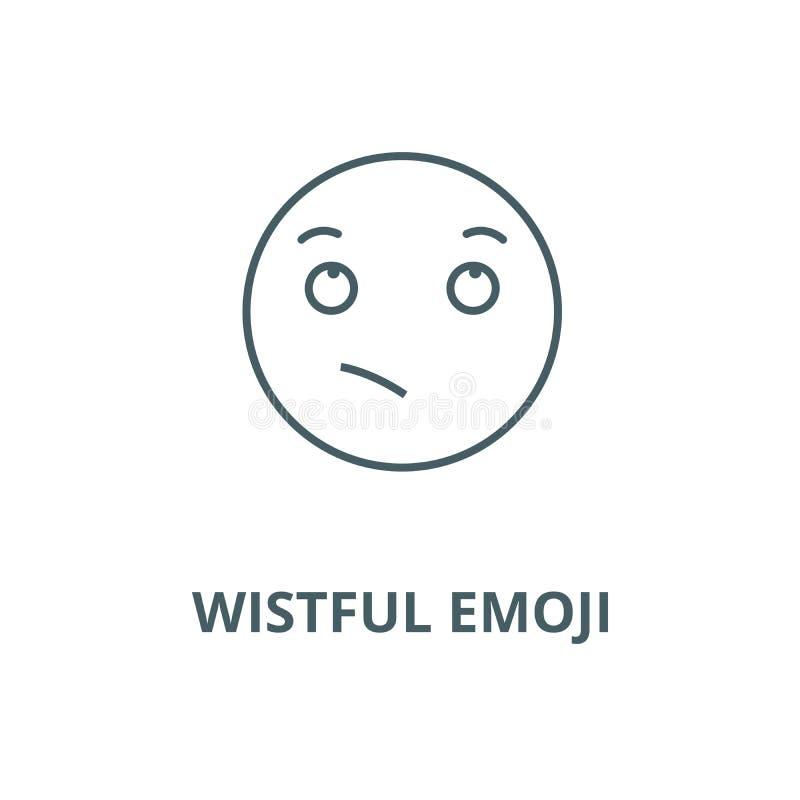 渴望的emoji传染媒介线象,线性概念,概述标志,标志 库存例证