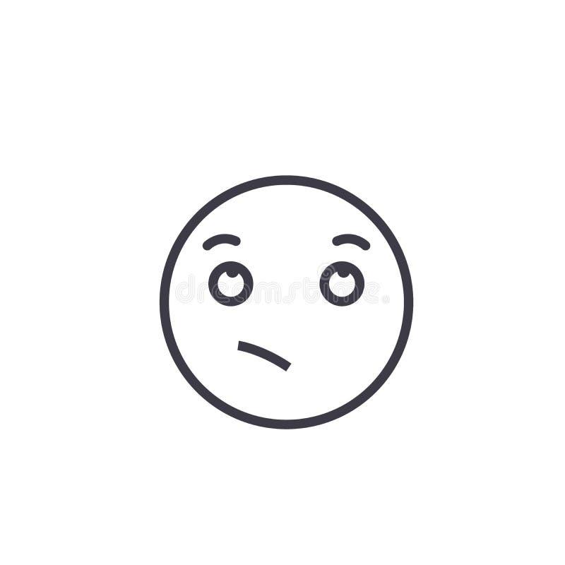 渴望的Emoji概念线编辑可能的传染媒介,概念象 渴望的Emoji概念线性情感例证 库存例证