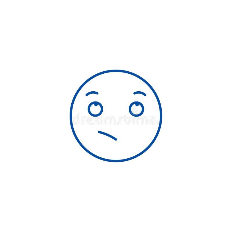 渴望的emoji线象概念 渴望的emoji平的传染媒介标志,标志,概述例证 库存例证