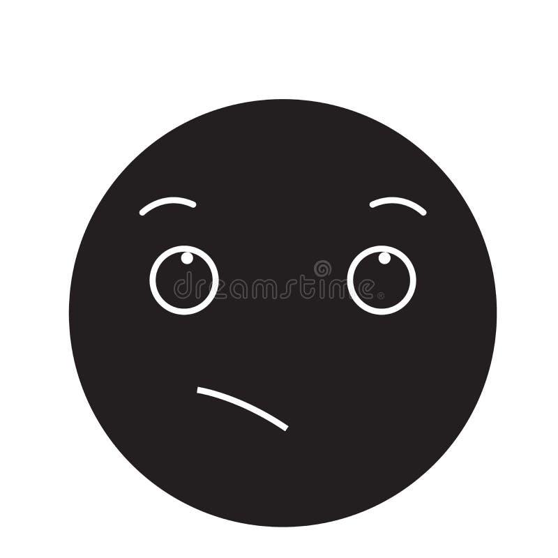 渴望的emoji黑色传染媒介概念象 渴望的emoji平的例证,标志 库存例证