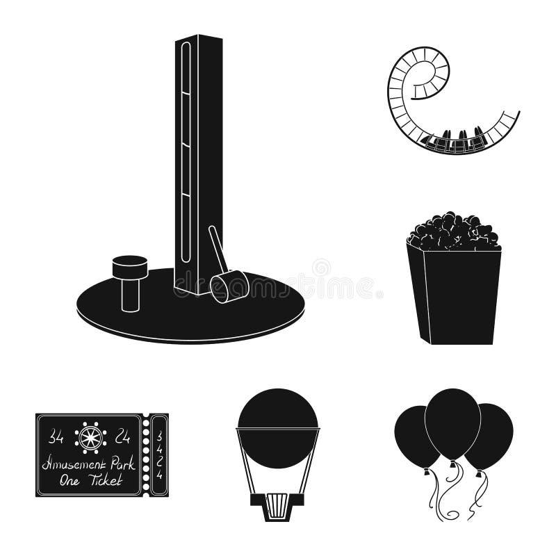 游乐园在集合汇集的黑色象的设计 设备和吸引力导航标志储蓄网例证 向量例证