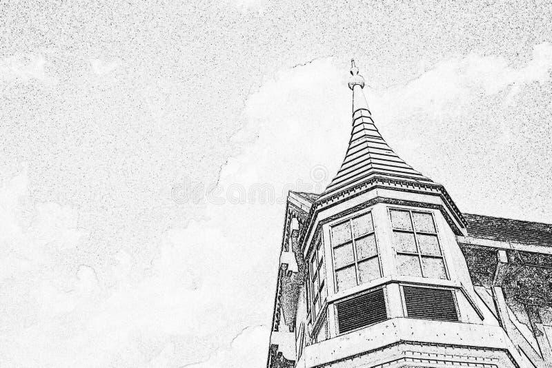 游乐园的老建筑 免版税图库摄影